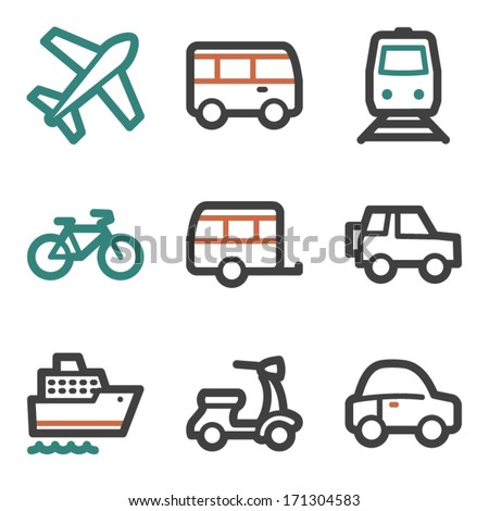 Transport web icons, contour series - stock vector