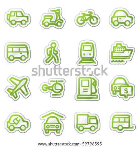 Transport web icons, green sticker series - stock vector