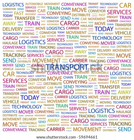 TRANSPORT. Word collage on white background. Vector illustration. - stock vector