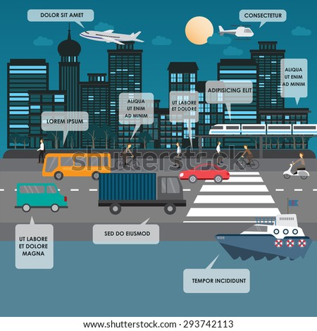 transportation and city traffic infographics element. can be used for workflow layout, diagram, web design, banner template. Vector illustration - stock vector