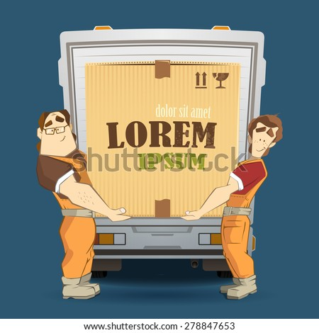 Transportation and delivery company illustration. Two workers mover man loading and unloading big heavy carton cardboard box from a truck. 3d color vector creative concept with characters. - stock vector