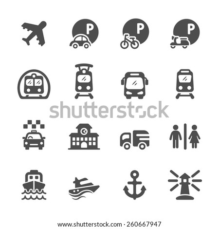 transportation and infrastructure icon set, vector eps10. - stock vector