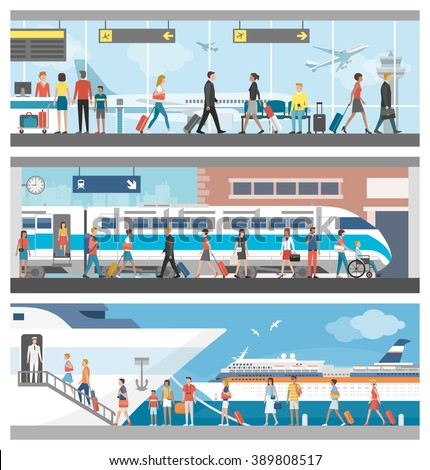 Transportation and travel banner set: business people and tourists at the airport, at the railway station and boarding on a luxury cruise ship - stock vector