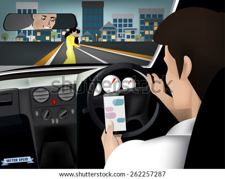 transportation and vehicle concept - man using smart phone while driving the car when woman and her child are crossing the road - stock vector