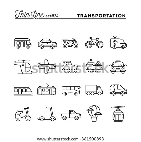 Transportation and vehicles, thin line icons set, vector illustration - stock vector