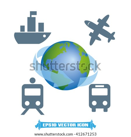 Transportation around the world, vector illustration eps10. Icons: ship, plane, train, bus, globe. - stock vector