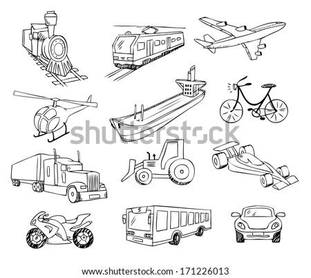 transportation around the world vector set - stock vector
