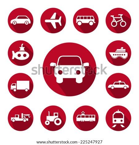 Transportation button icons set. - stock vector
