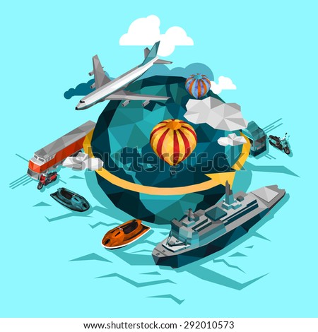 Transportation by air water and ground around the world concept isolated vector  illustration   - stock vector