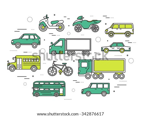Transportation concept set icons illustration in thin lines style design. Tamplate for web and mobile backgrounds - stock vector