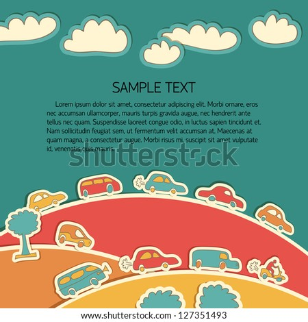 Transportation Doodle Background. Vector Illustration, eps10, contains transparencies. - stock vector