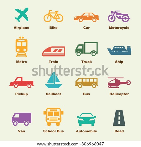 transportation elements, vector infographic icons - stock vector