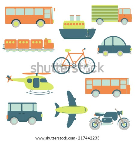 Transportation facilities. Transportation facilities in a white background: car, bus, bus travel, ship, truck, train, bike, helicopter, 4x4 car, airplane, motorbike. Isolated. - stock vector