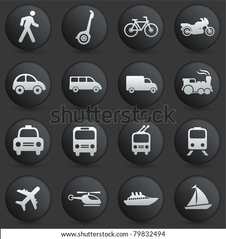 Transportation Icon on Round Black and White Button Collection Original Illustration - stock vector