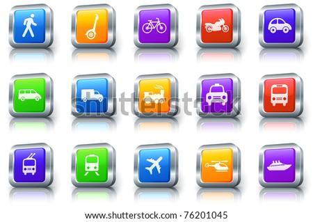 Transportation Icon on Square Button with Metallic Rim Original Illustration - stock vector