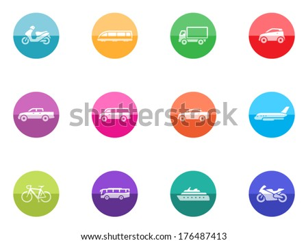 Transportation icon series in color circles.  - stock vector