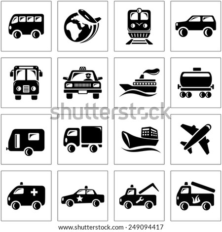 Transportation icon set - stock vector