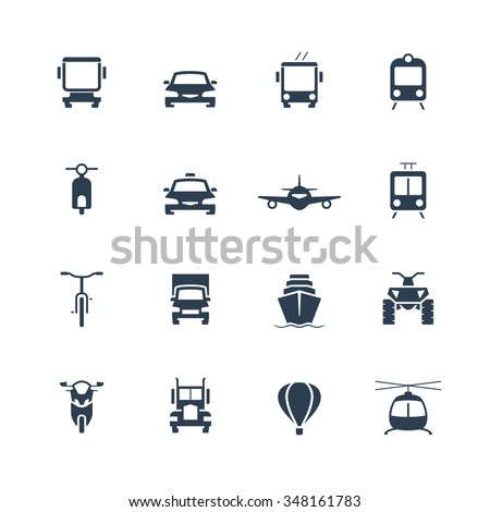 Transportation icon set, front view - stock vector