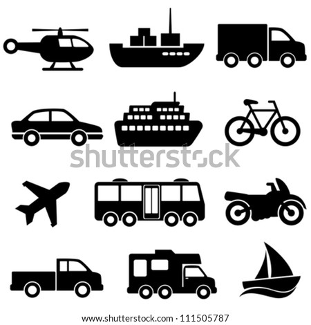 Transportation icon set on white background - stock vector
