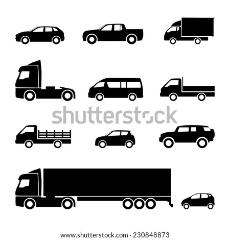 Transportation icons. Cars, trucks, delivery, logistic, transport vector icons - stock vector