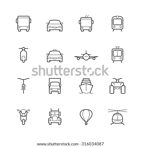 Transportation icons in thin line style, front view - stock vector