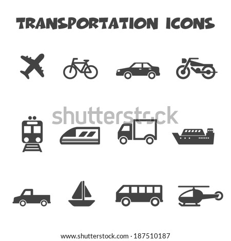 transportation icons, mono vector symbols - stock vector