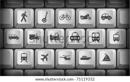 Transportation Icons on Gray Computer Keyboard Buttons Original Illustration - stock vector