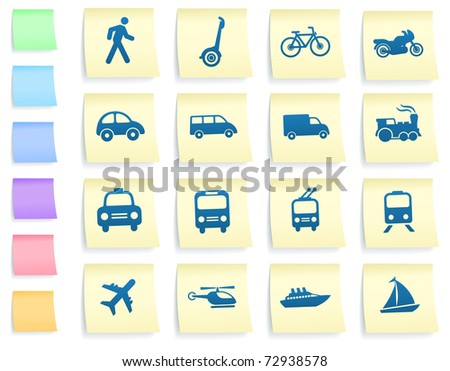 Transportation Icons on Post It Note Paper Collection Original Illustration - stock vector