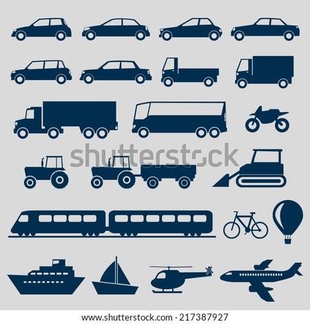 Transportation Icons Set - stock vector