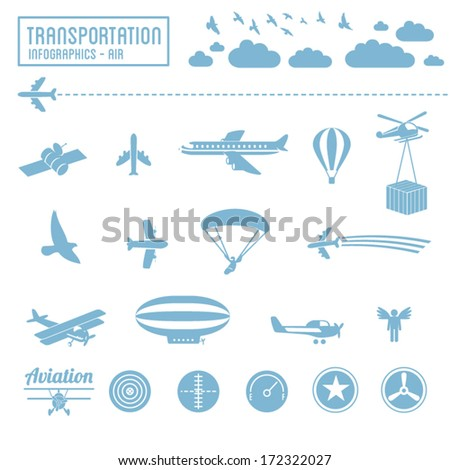 Transportation icons set - air infographic symbols & design elements - stock vector