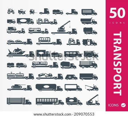 Transportation icons ( set of 50 icon ) - stock vector