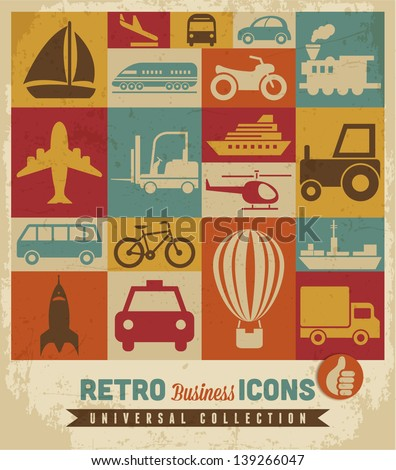Transportation icons set.Vector - stock vector