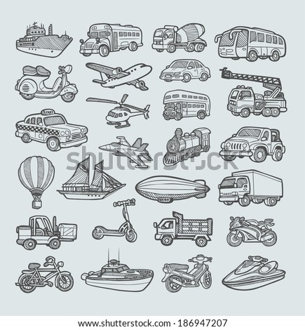 Transportation Icons Sketch (vector). Good use for your website icons, sticker, symbol, or any design you want. Easy to use, edit, or change color. - stock vector