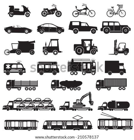 Transportation icons. Vector illustration. - stock vector