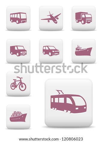 Transportation icons. Vector set of white square buttons - stock vector
