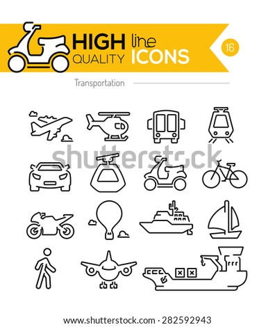 Transportation Line Icons - stock vector