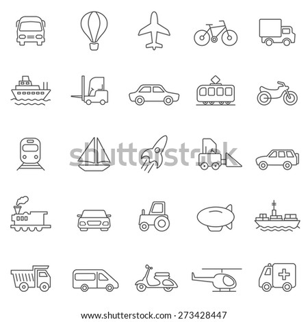 Transportation line icons set.Vector - stock vector