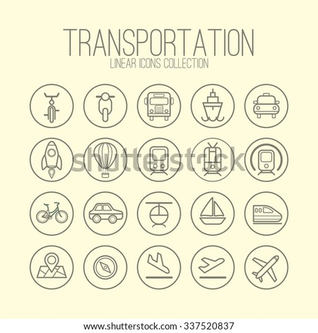 Transportation Linear Icons Collection - stock vector