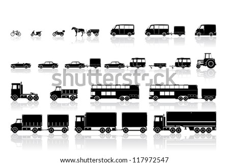 transportation, mode of transportation, black, white, icon, a bicycle - to the truck, - stock vector