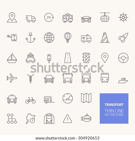 Transportation Outline Icons for web and mobile apps - stock vector