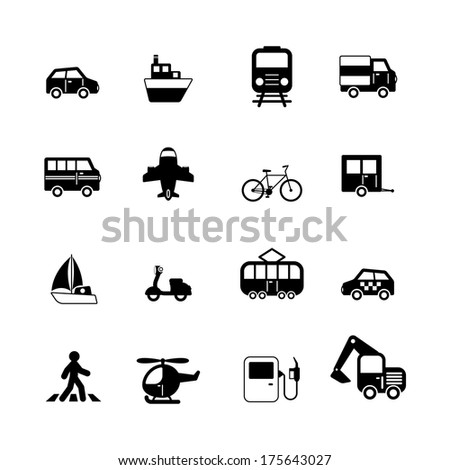 Transportation pictograms collection of car truck bus pedestrian isolated vector illustration - stock vector