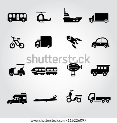 transportation set, icon set, car set - stock vector