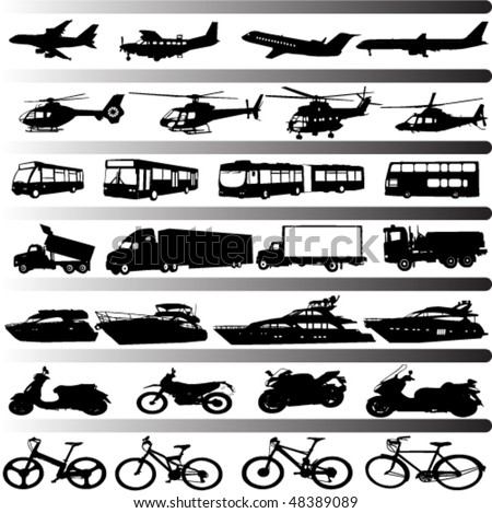 transportation set vector - stock vector