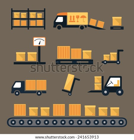 Transportation, shipping and delivery icons. Warehouse packaging flat design vector set - stock vector