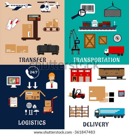 Transportation, shipping, storage, delivery and logistics flat icons. Container ship and wagon, cargo aircraft, truck, shipment, warehouse, weighing, packaging, customer service and delivery details - stock vector