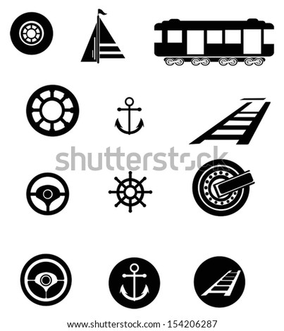 Transportation silhouette icon set, create by vector - stock vector