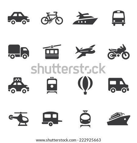 Transportation Silhouette icons - stock vector