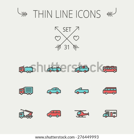Transportation thin line icon set for web and mobile. Set include- bus, cars, van, helicopter, camper van icons. Modern minimalistic flat design. Vector icon with dark grey outline and offset colour - stock vector