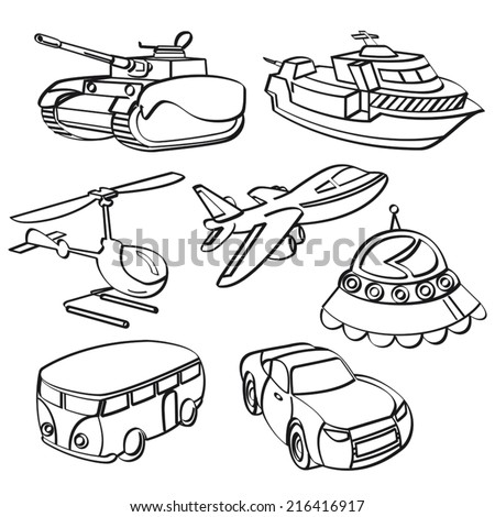 Transportation Toys Collection - stock vector