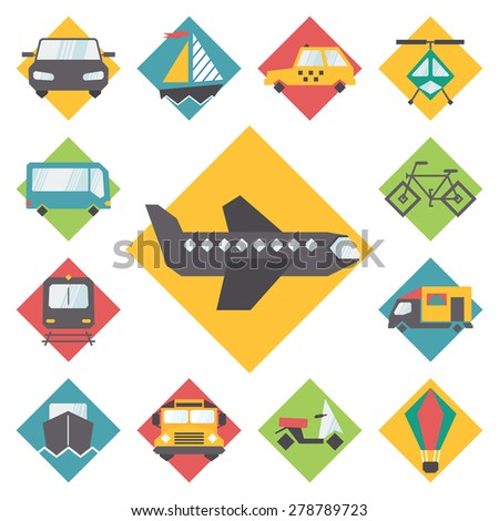 Transportation traveling icons set, flat design vector. - stock vector